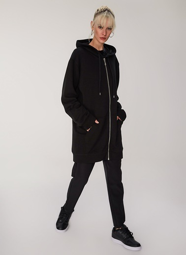 People By Fabrika Fermuarlı Oversize Sweatshirt Siyah